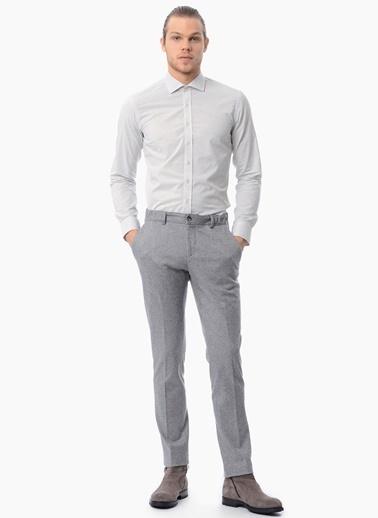 NetWork İtalyan Yaka Uzun Kollu Slim Fit Gömlek Gri